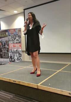 Speaking on stage at Global Woman London